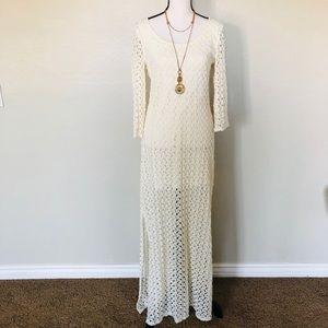 As U Wish ivory long sleeve crochet maxi dress L